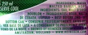 Ingredientes Heineken